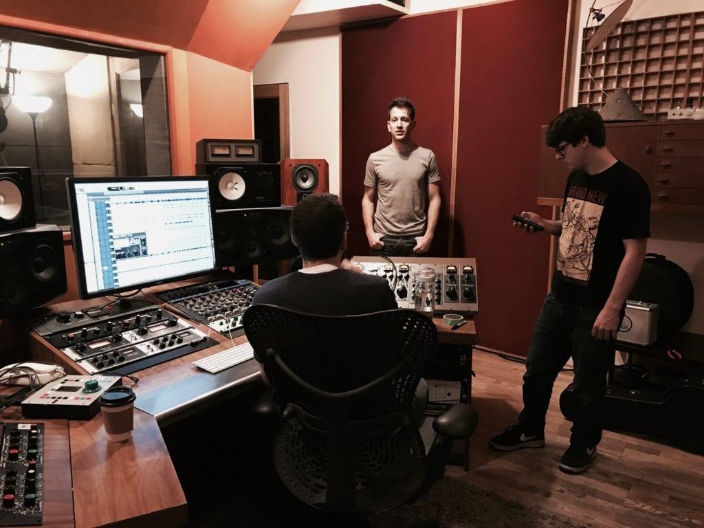 Dante Mazzetti and Adam Sussman recording Hotel Vol. 1 and Hotel Vol. 2 at Mercy Sound Studio in NYC, NY
